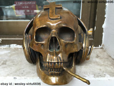 25 CM Western Art Deco Sculpture Bronze Music DJ Skull Earphone Mic Smoke Statue