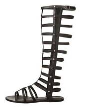 Black Knee High Boot Style Gladiator Sandals Strappy Shoes Size 37 6.5 Halloween