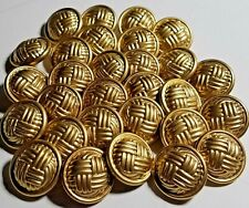 BASKETWEAVE BUTTON LOT OF 29-GOLD TONE, DOMED-NOS-3/4-FREE US SHIP