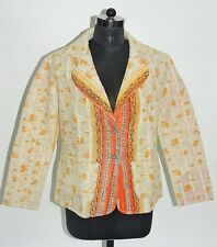 Indian Vintage Quilted Kantha Handmade Cotton Women Jacket Long Blazer Coat L