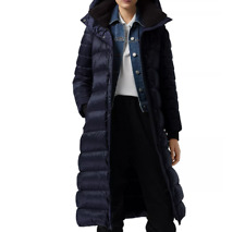 Burberry Women Kington Shearling Down Hood Belt Puffer Long Coat Sz XL Navy NWT!