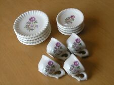 Vintage 12 Piece Children Doll House Tea Set Desert Set With Plates Floral Rose