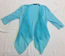 Turquoise Knit Open Cardigan With Silky Draped Front Sz S EEUC