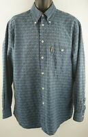 Armani Jeans Blue Shirt Eagle Print Size M 100% Cotton Made In Italy