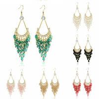 Women Earrings  Drop Jewelry Bead Long Hook Bohemian Tassel Dangle