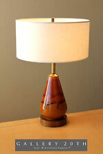 MID CENTURY CA MODERN BROWN ORANGE GLAZED DRIP LAMP! Eames 50's Vtg Danish 60's