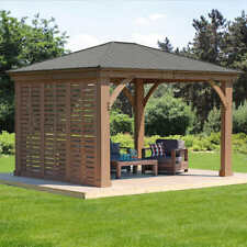 USA Yardistry Cedar Gazebo Privacy Wall Kit 12' Patio Stained Ready to Assemble