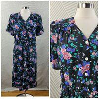 Vintage 90s Dress size 12 Floral Midi Grunge Cottagecore long Dark Academia pink