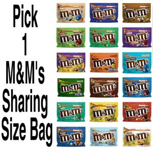 Pick 1 M&M's Sharing Size Resealable Chocolate Candies M&Ms Bag