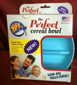 The Perfect Cereal Bowl Divided Portion Control Bowl No Soggy Cereal blue