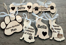 Wooden personalised pet decoration dog cat memorial ornaments bone paw