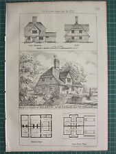 1877 DATED ARCHITECTURAL PRINT ~ COTTAGES AT KILLERTON PLAN HARBOTTLE
