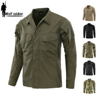 Mens Military Shirt Army Combat Tactical Long Sleeve Casual Shirt Camouflage