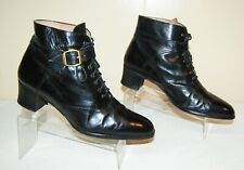 Yanko Granny Ankle Leather Boots Booties Black Women's 9 M