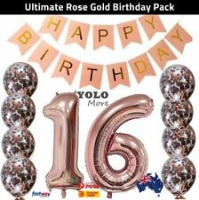 16th Rose Gold Birthday Pack Sweet 16 Sixteen Garland Balloons Decorations Party