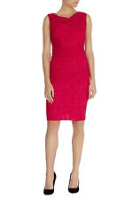 COAST LIANNA HOT PINK RUCHED LACE PENCIL BODYCON DRESS 8 ONCE £135