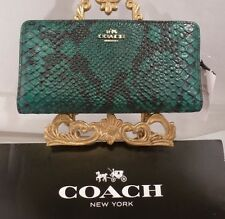 NWT COACH Skinny Wallet in Python Embossed FOREST GREEN Leather 54742