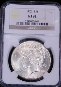1926 Peace Silver Dollar NGC MS63 CAC Original White with Great Luster PQ #GE774