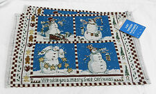 Pair of Snowman Tapestry Fabric Placemat / Table Mats - BNWT
