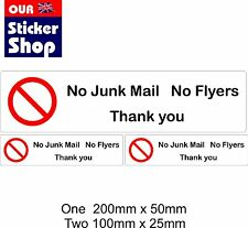3x No Junk Mail, No Flyers Letterbox Vinyl Stickers Signs