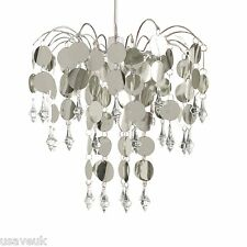 Chandelier Ceiling Light Lamp Shade Fitting Crystal Droplet - Easy Fit - Silver