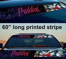 "60"" Harley Quinn Joker Puddin' Sun Strip Printed Windshield Vinyl Sticker Decal"