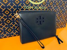 Tory Burch NWT Lily Large Zip Phone Leather Wristlet Logo Wallet Pouch Black