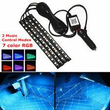 4PCS 12 LED Car SUV Atmosphere RGB Phone App Music Control Strip Lights Bar 10W