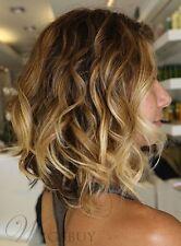 Hot Sale Dark Blonde Mixed Color Bob Hairstyle Wavy Hair Wig