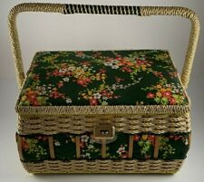 Sewing Basket Wicker Green Floral Fabric Yellow Lining Japan Storage Box