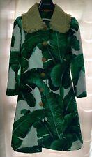 $6580 NWT Dolce & Gabbana Banana Leaf Print Jacquard Straw Collar Long Coat 38