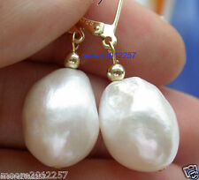 Charming AAA 12~14 mm huge baroque white pearl 18K GP Leverback Dangle Earrings