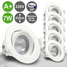 5x LED 230V Einbaustrahler ultra flach 7W WW Set Einbau Spots Leuchte MERA rund