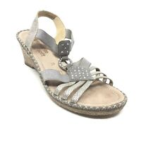 Women's Remonte Slingback Wedge Sandals Shoes Size 39 EU/8 US Silver Leather Z12