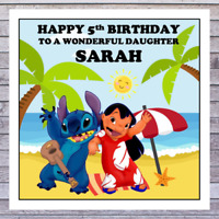 KIDS LILO & STITCH BIRTHDAY CARD - personalised with any AGE RELATIONSHIP & NAME