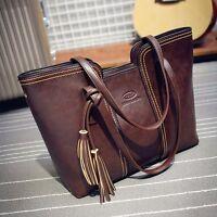 Women Tassel Shoulder Bag Tote Purse Messenger Bag Leather Handbag