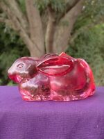 Vintage Gorgeous Glass RED tint PINK glass Candle Tealight Holder Yankee ❤️sj3j