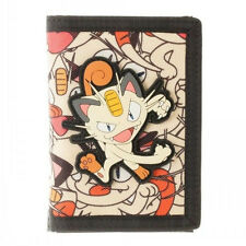 NINTENDO POKEMON MEOWTH CANVAS RUBBER TRIFOLD WALLET CREDIT CARD ID PHOTO HOLDER