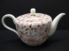 ROSENTHAL 3655 Helena Orange Red Bird Floral Gold Trim 6 Cup Teapot