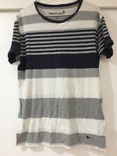 Modern Amusement Mens White Striped T Shirt Size L Good Condition