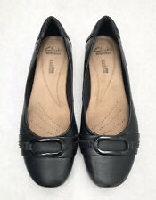 Womens Size 7 CLARKS Black Leather Loafer Ballet Style Comfort Shoes