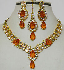 Designer Gold Plated Studded Kundan Necklace Earring Tika Jewellery Set