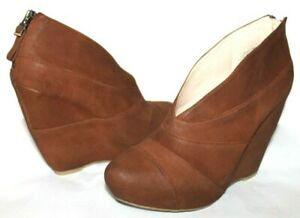❤️BOUTIQUE 9 Darting Brown Oiled Leather Wedge Zip Boots 8 M EXCELLENT! L@@K!g