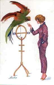 Xavier Sager Beautiful Woman Pajamas Parrot Bird NOVELTY REAL FEATHERS ADON