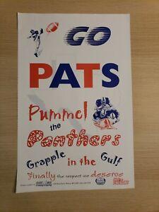 "New England Patriots Super Bowl XXXVIII Poster 11""x17"" Panthers Sponsored Card"
