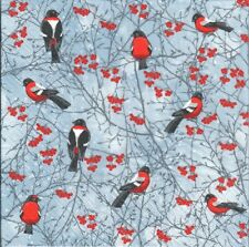 4 Single paper decoupage napkins. Christmas, winter, forest, birds  -X178