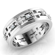 18K White Gold Mens Engagement Ring 0.23 Ct Real Diamond Anniversary Bands