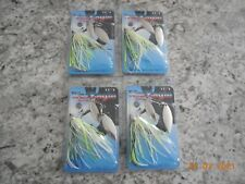 Lot 4 War Eagle Spinnerbait 1/2 oz. White Chartreuse Blue Lures