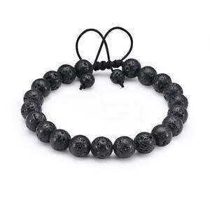 2 Pcs Lava Tiger Eye Adjustable Essential Oil Anxiety Stress Bracelets Jewellery