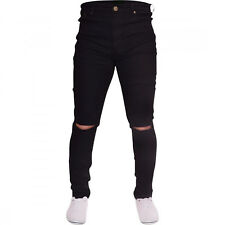 Mens Black Ripped Skinny Jeans Biker Destroyed Slim Fit Designer Denim Pants New